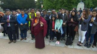 People gathered for vigil for Nepal