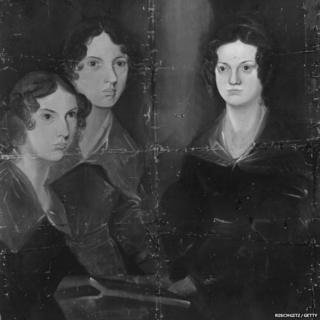 Anne, Emily and Charlotte Bronte. Original Artwork: Painting by their brother, Patrick Branwell Bronte, circa 1834