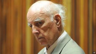 Retired tennis player Bob Hewitt sits in the dock in a court east of Johannesburg, South Africa (March 23, 2015)