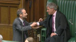 Paul Blomfield MP shakes hands with the Speaker
