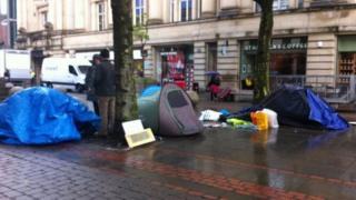 Protestors on St Anne's Square