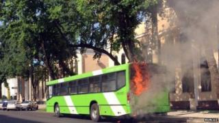 The burning bus
