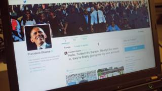 US President Barack Obama's Twitter page on a laptop