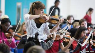 Nicola Benedetti performing with six schools from across London at the inaugural Music in Secondary Schools Trust concert earlier this month