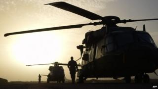 This file picture dated on January 2, 2015 shows French helicopters stationed at a base in Goa, 320 km east southeast of Timbuktu, as part of the Barkhane Operation