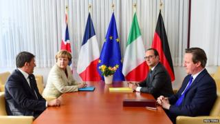 Italian Prime Minister Matteo Renzi (L-R), German Chancellor Angela Merkel, French President Francois Hollande and British Prime Minister David Cameron