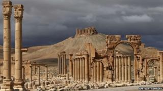 A file picture taken on March 14, 2014 shows a partial view of the ancient oasis city of Palmyra