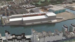CGI of expanded Govan shipyard