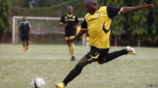 Burundi leader playing football