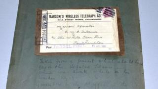 Label addressed to the ill-fated Titanic