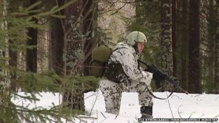 A Finnish army conscript on winter exercises
