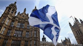 A Scottish flag in front of the Houses of Parliament
