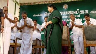 Ms Jayalalitha arrives for her swearing in ceremony to become chief minister of Tamil Nadu
