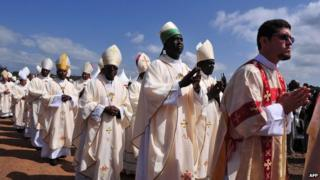 Catholic bishops attend the beatification ceremony in Nyeri, 23 May