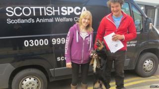SSPCA Staff with Sid the dog