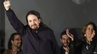 Pablo Iglesias, celebrating Podemos gains