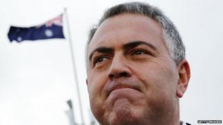 Australian Treasurer Joe Hockey outside Parliament House, Canberra