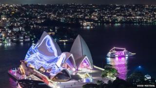 Sydney Opera House illuminated during the Vivid Festival in 2015