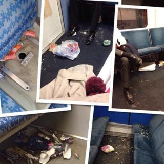 photographs showing the mess on Abellio Greater Anglia trains