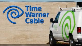 Time Warner sign and van