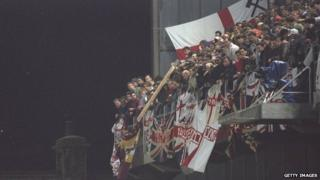 Missiles were thrown down from the West Stand at Dublin's Lansdowne Road in 1995