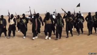 An image grab taken from a propaganda video in, 2014 by jihadist group the Islamic State of Iraq and the Levant
