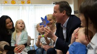 David Cameron during a pre-election campaign visit to a nursery
