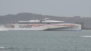 Condor Liberation passes Herm on its way to Guernsey's St Peter Port Harbour