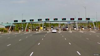 Toll booth on the M6 Toll motorway