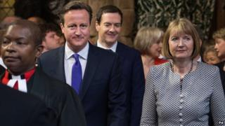 David Cameron and acting Labour leader Harriet Harman