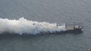 Handout of Purple Beach on fire