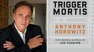 Anthony Horowitz with Trigger Mortis cover