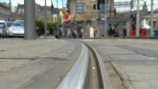 Tram tracks at Haymarket