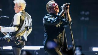 U2 perform on their latest tour in Los Angeles