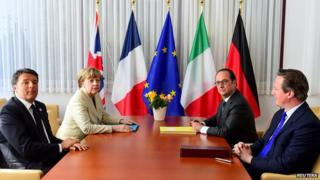 From left: Italian PM Renzi, German Chancellor Merkel, French President Hollande and British PM Cameron at EU summit, Apr 2015