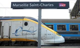 Eurostar train pulls in to Marseille