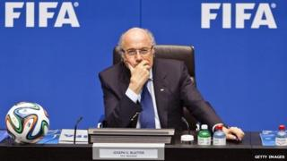 """Joseph """"Sepp"""" Blatter, president of Fifa in a 2015 Zurich press conference"""