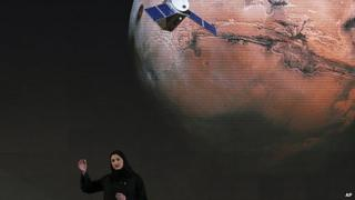 "Sarah Amiri, Deputy Project Manager of a planned United Arab Emirates Mars mission talks about the project named ""Hope"" — or ""al-Amal"" in Arabic — which is scheduled be launched in 2020, during a ceremony in Dubai, UAE"