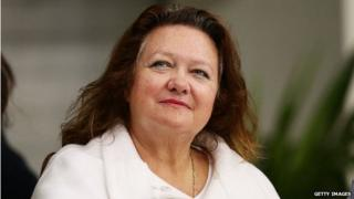 Gina Rinehart attends the Australian National Swimming Championships in Sydney, Australia on 9 April 2015