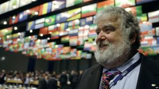 Member of the FIFA Executive Committee and Commissioner of the American Soccer League and Executive Vice President of the United States Soccer Federation and General Secretary of CONCACAF Chuck Blazer is seen in Hungexpo of Budapest 2012 25 May