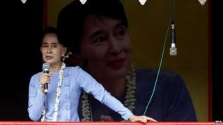 Myanmar opposition leader Aung San Suu Kyi (18 May 2015)