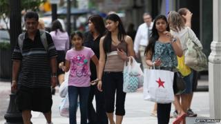 Shoppers on a Miami street