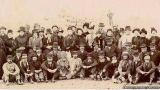 Some of the original passengers from the Mimosa, pictured 25 years after they arrived in Patagonia