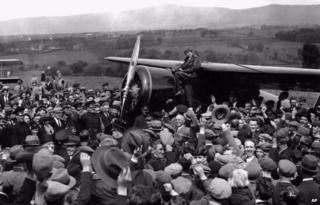 Amelia Earhart, pictured leaving Derry to fly on to London after her surprise visit