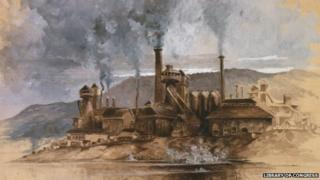 """Bethlehem Steel works, """"Watercolour in sepia brown, white and gray, on buff paper. Signed May '81."""""""