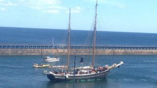 Haabet, of Svendborg, Denmark, entering the Port of Blyth