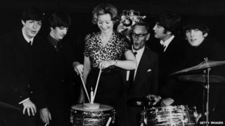 Julie Harris with the Beatles in 1964