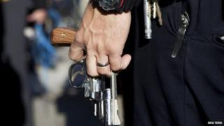 US police officer with Smith and Wesson revolver (file image)