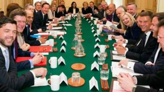 The first meeting of David Cameron's Conservative cabinet after the election