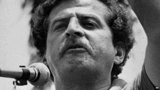In this 1982 file photo, Luis Carlos Galan is shown speaking at a rally